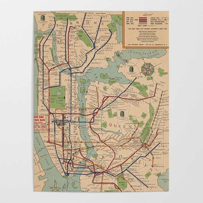 New York City Subway Map Poster.New York City Metro Subway System Map 1954 Poster By Vintageartstore