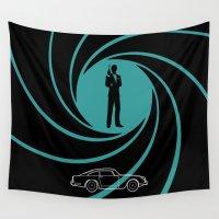 james bond Wall Tapestries featuring James DB5 by Adikt