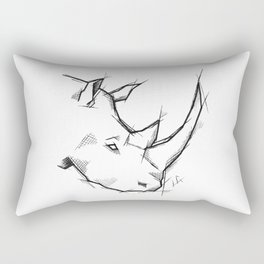 Rhino Handmade Drawing, Made in pencil and ink, Tattoo Sketch, Tattoo Flash, Sketch Rectangular Pillow