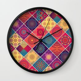 Red Boho Patchwork Quilt Wall Clock