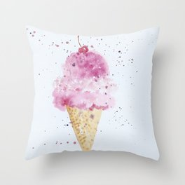 Ice cream Love Summer Watercolor Illustration Throw Pillow