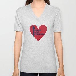 Peace Love Equality - heart Unisex V-Neck