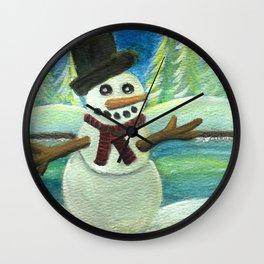 Sun-Kissed Snowman Wall Clock