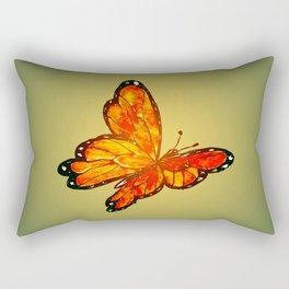 Orange Watercolor Butterfly Design Rectangular Pillow