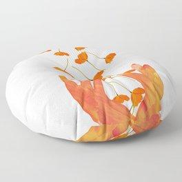 Wonderful Poppy Flowers Orange Coral Color White Background #decor #sociey6 #buyart Floor Pillow