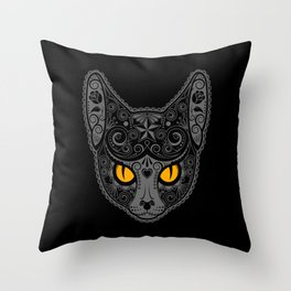 Gray Day of the Dead Sugar Skull Cat Throw Pillow