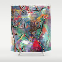 body Shower Curtains featuring body by mark ashkenazi