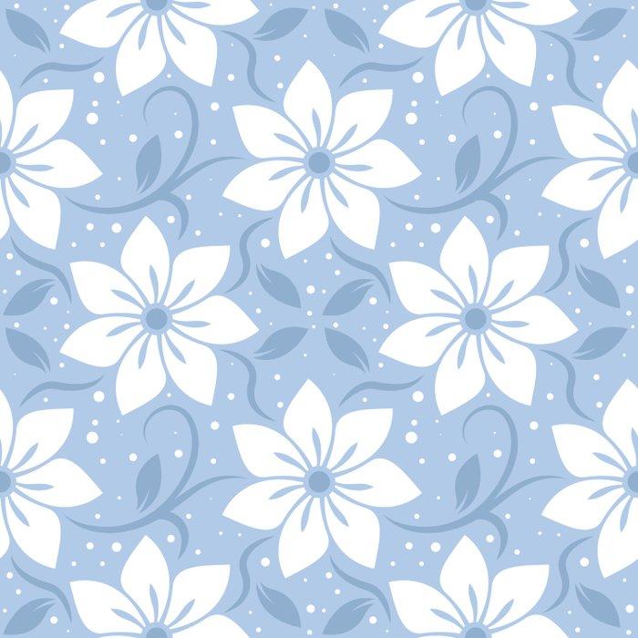 Magical Blue Flower Pattern Duvet Cover
