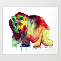 Coloured Bear Art Print