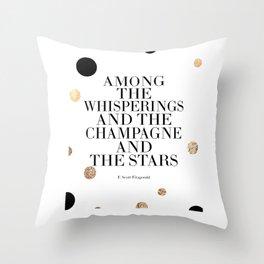 Champagne Quote,Celebrate Life,F Scott Fitzgerald,Quote Prints,Bar Decor,Wedding Anniversary Throw Pillow