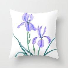 vintage purple iris watercolor Throw Pillow