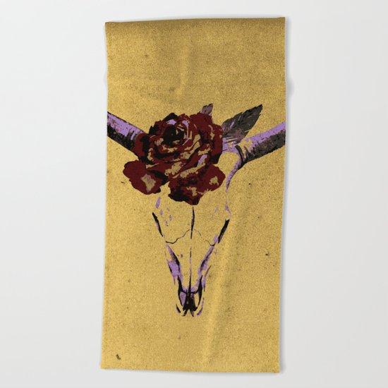 Grunge Animal Skull Beach Towel