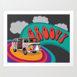Groovy Camper Van Fantasy Art Print