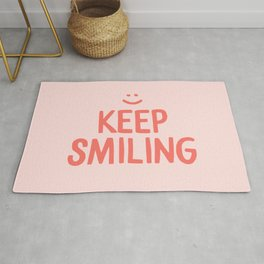 Keep Smiling - Pink Happiness Quote Rug