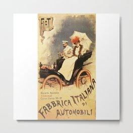 Vintage Poster, car fabrica italiana de automobili, vintage poster Metal Print
