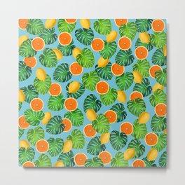 Oranges Lemons Monstera Leaf Teal Metal Print