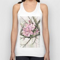 cherry blossom Tank Tops featuring Cherry Blossom by Olechka