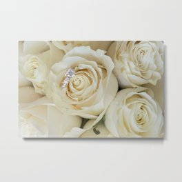 White Roses and White Diamonds Metal Print