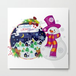 Cheerful snowman waiting for a holidays Metal Print