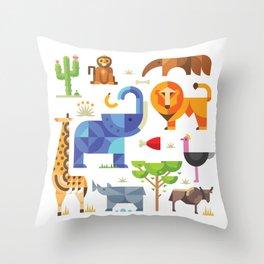 Geometric animals in savannah Throw Pillow