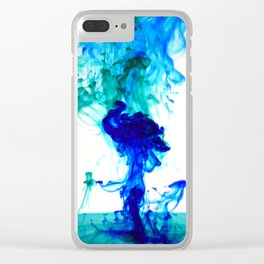 Turquoise ink Clear iPhone Case