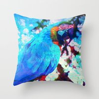 parrot Throw Pillows featuring Parrot by haroulita