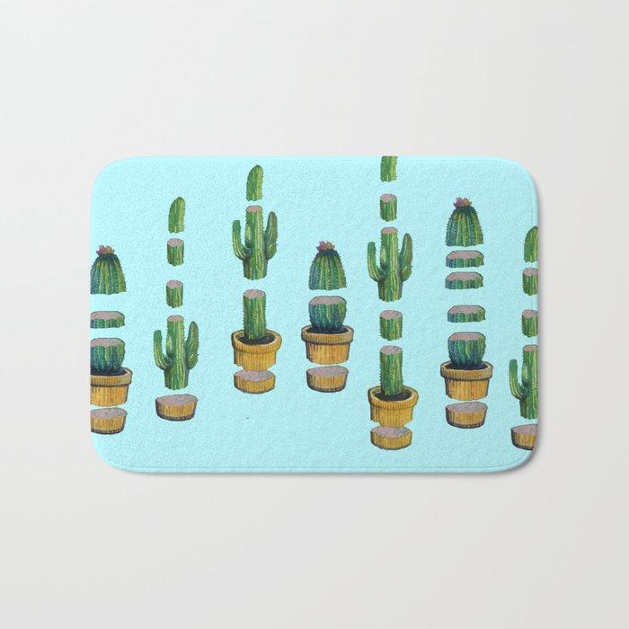 cut cactus on blue Bath Mat