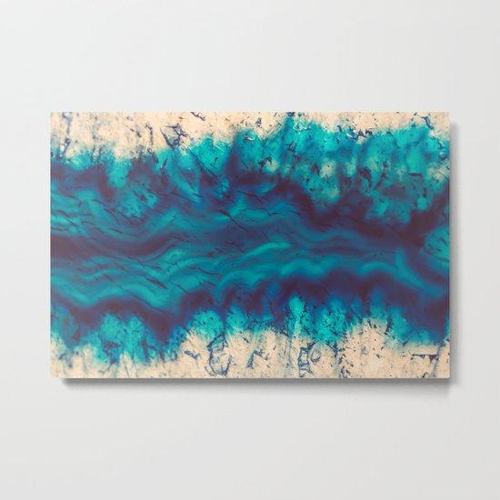 Blue Agate River of Earth Metal Print