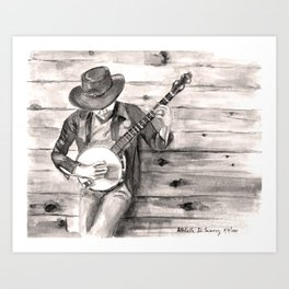 Banjo Player in Sepia Art Print
