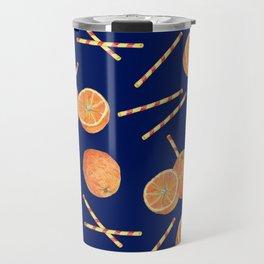 orange juice _ blue Travel Mug