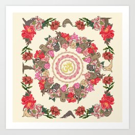 Sloth Yoga Floral Medallion Art Print