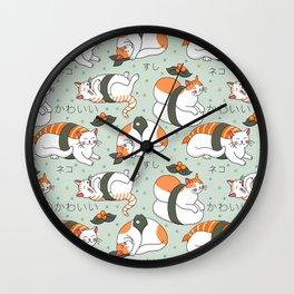 Kawaii Neko Sushi Wall Clock