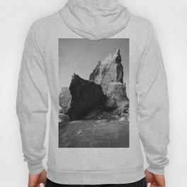 Boulder Beach Geology Rocks Washington Pacific Ocean Shore Coastal Nautical Abstract Black White Hoody