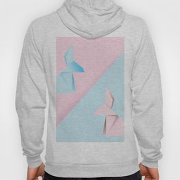 Pink and blue origami rabbit Hoody