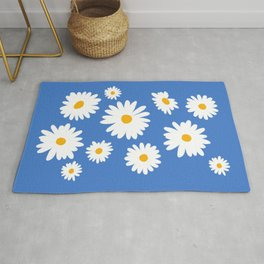 Summer Daisies on Blue Rug