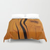 wooden Duvet Covers featuring Wooden texture by DistinctyDesign