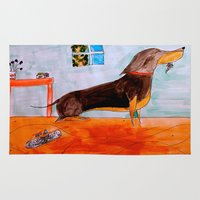 dachshund Area & Throw Rugs featuring Dachshund by Caballos of Colour