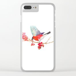 Bullfinch bird with ashberry Clear iPhone Case