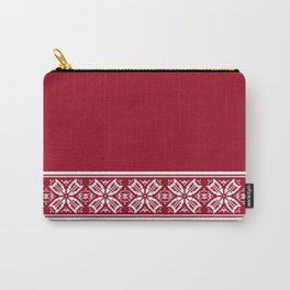 Red Jacquard Carry-All Pouch