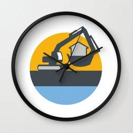 Excavator Digger Handling House Circle Retro Wall Clock