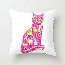 Cute over skeleton cat Throw Pillow