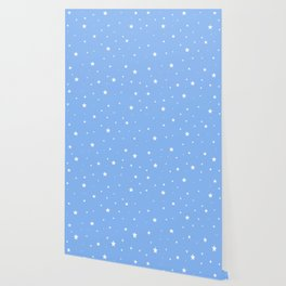 Scattered Stars on Sky Blue Wallpaper