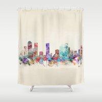 denver Shower Curtains featuring denver colorado skyline by bri.buckley