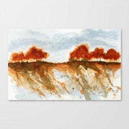 Firebranch Ridge, Watercolor Abstract Landscape Art Canvas Print