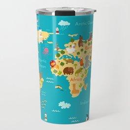 Animals world map. Vector illustration Travel Mug