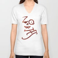 zombies V-neck T-shirts featuring Zombies by Chawalit Jitsanorh