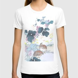 Two Quails And Kudzu Flowers - Antique Japanese Woodblock Print Art By Kono Bairei T-shirt