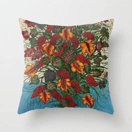 Grapes and Grape Leaves in Vase by Seraphine Louis Throw Pillow