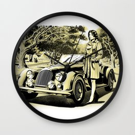 Woman with a vintage car Wall Clock
