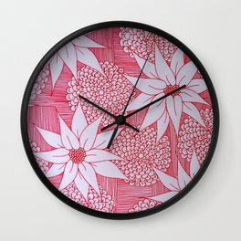 Red drawing Wall Clock